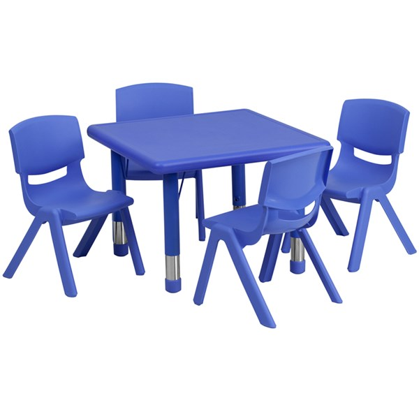 24 Inch Square Blue Plastic 5pc Activity Table Set w/4 School Chairs FLF-YU-YCX-0023-2-SQR-BLU-S1