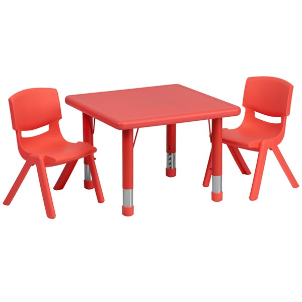 24 Inch Square Red Plastic 3pc Activity Table Set w/2 School Chairs FLF-YU-YCX-0023-2-SQR-RED-S2