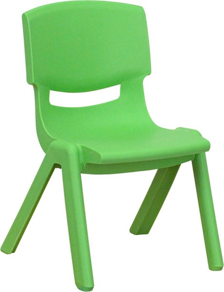 Green Plastic Stackable School Chair W/10.5 Inch Seat Height FLF-YU-YCX-003-GREEN-GG
