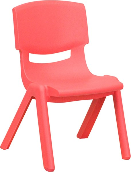 Flash Furniture Red Plastic Stackable School Chair with 10.5 Inch Seat Height FLF-YU-YCX-003-RED-GG