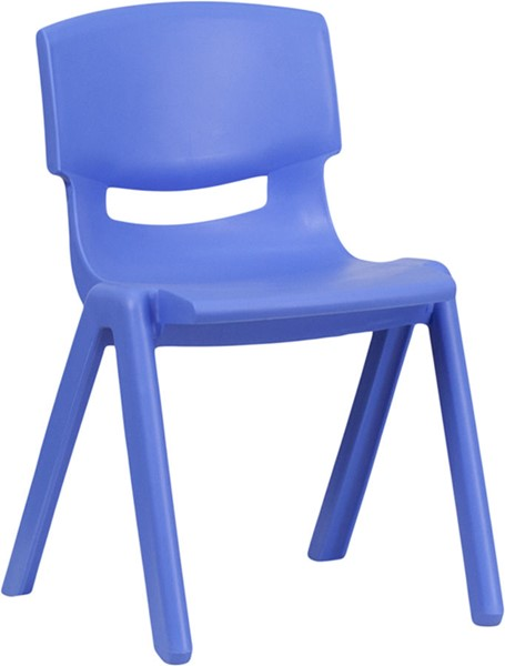 Blue Plastic Stackable School Chair W/13.25 Inch Seat Height FLF-YU-YCX-004-BLUE-GG