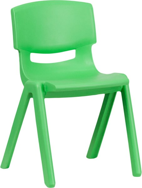 Flash Furniture Green Plastic Stackable School Chair with 13.25 Inch Seat Height FLF-YU-YCX-004-GREEN-GG
