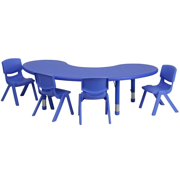 35 x 65 Half-Moon Plastic 5pc Activity Table Set w/4 School Chairs FLF-YU-YCX-0043-2-MOON-TBL-E-GG-KTCH-VAR