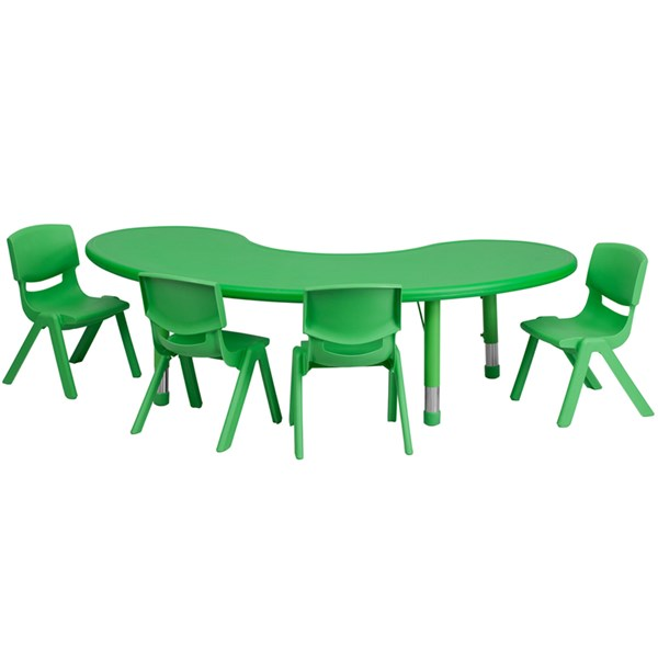 35 x 65 Half-Moon Green Plastic 5pc Activity Table Set w/4 Chairs FLF-YU-YCX-0043-2-MOON-GRN-S1