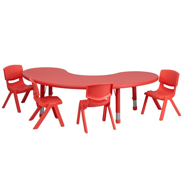 35 x 65 Half-Moon Red Plastic 5pc Activity Table Set w/4 School Chairs FLF-YU-YCX-0043-2-MOON-RED-S1