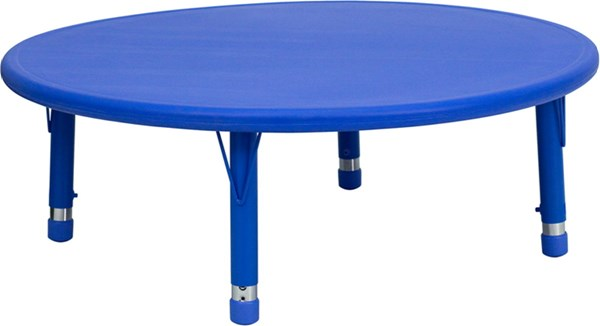 45 Inch Round Height Adjustable Plastic Activity Table FLF-YU-YCX-005-2-ROUND-TBL-GG-VAR