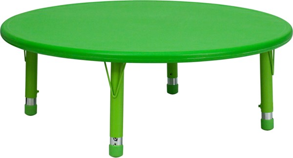 45 Inch Round Height Adjustable Green Plastic Activity Table FLF-YU-YCX-005-2-ROUND-TBL-GREEN-GG