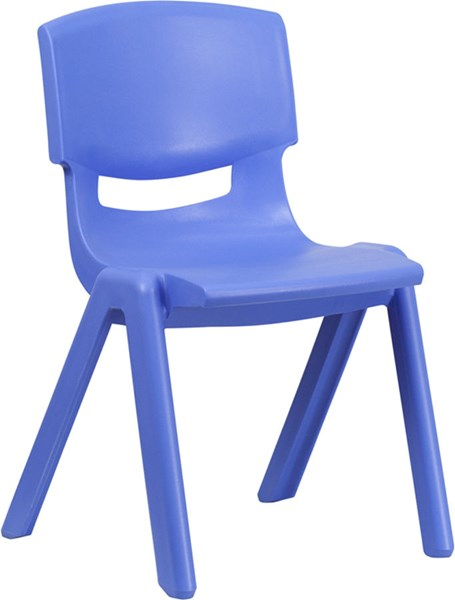 Blue Plastic Stackable School Chair W/15.5 Inch Seat Height FLF-YU-YCX-005-BLUE-GG