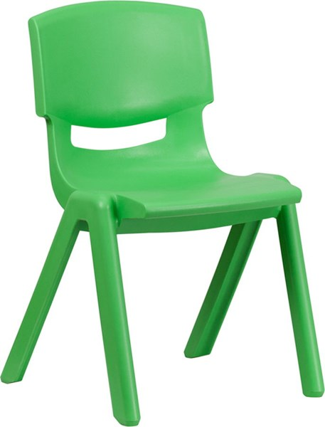 Flash Furniture Green Plastic Stackable School Chair with 15.5 Inch Seat Height FLF-YU-YCX-005-GREEN-GG