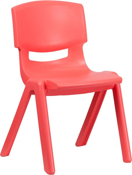 Flash Furniture Red Plastic Stackable School Chair with 15.5 Inch Seat Height FLF-YU-YCX-005-RED-GG
