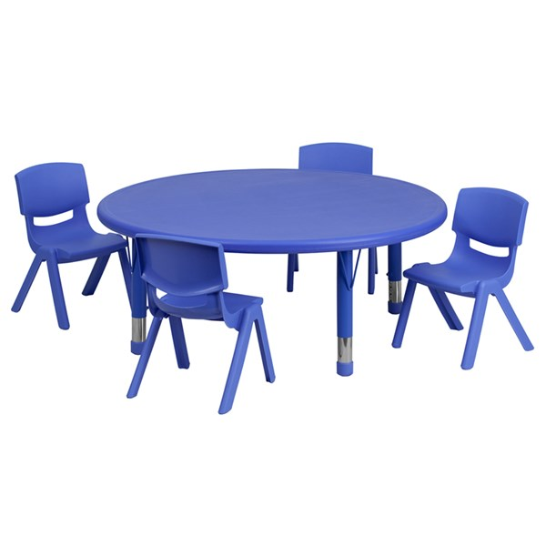 Blue Green Red Plastic Steel Kids Activity Table & Chair Set FLF-YU-YCX-005-2-ROUND-KIDS-EDU-SET