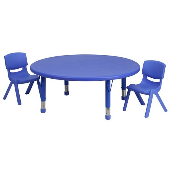 Flash Furniture 45 Inch Plastic 3pc Activity Table Set with 2 Chairs FLF-YU-YCX-0053-2-ROUND-TBL-R-GG-KTCH-VAR