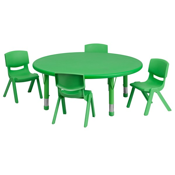 45 Inch Round Green Plastic 5pc Activity Table Set W/4 Stack Chairs FLF-YU-YCX-0053-2-ROUND-GRN-S1