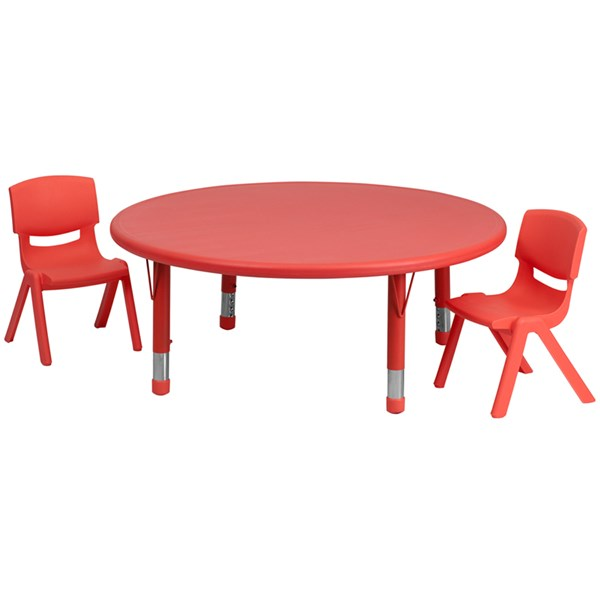 45 Inch Round Red Plastic 3pc Activity Table Set W/2 Stack Chairs FLF-YU-YCX-0053-2-ROUND-RED-S2