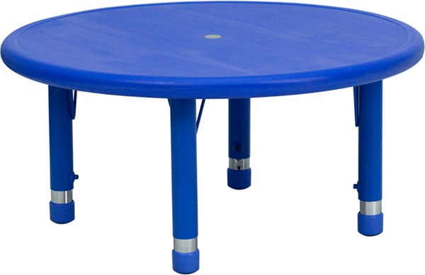 Flash Furniture 33 Inch Round Blue Plastic Activity Table FLF-YU-YCX-007-2-ROUND-TBL-BLUE-GG