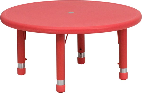 Flash Furniture 33 Inch Round Red Plastic Activity Table FLF-YUYCX0072-RNDTBLRDGG
