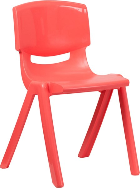 Red Plastic Stackable School Chair W/18 Inch Seat Height FLF-YU-YCX-007-RED-GG