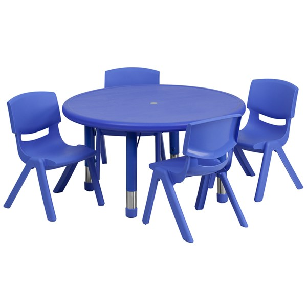 Flash Furniture 33 Inch Round Plastic Activity Table Set with 4 Chairs FLF-YU-YCX-0073-2-ROUND-TBL-E-GG-KTCH-VAR