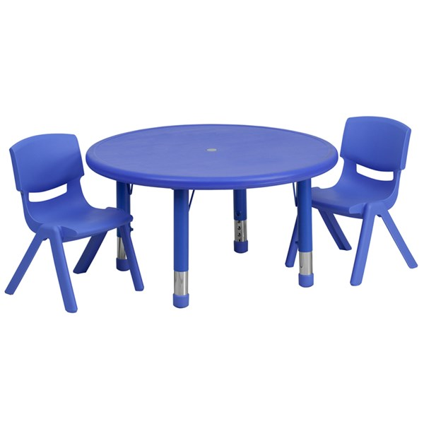Flash Furniture 33 Inch Round Plastic Activity Table Set with 2 Chairs FLF-YUYCX00732RDTBL-RGGKTCHV1