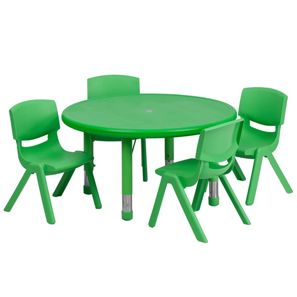 33 Inch Round Green Plastic 5pc Activity Table Set w/4 Stack Chairs FLF-YU-YCX-0073-2-ROUND-GRN-S1