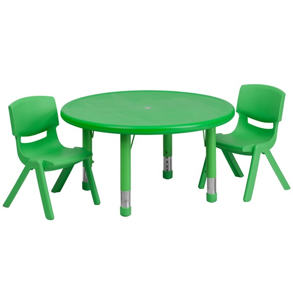 33 Inch Round Green Plastic 3pc Activity Table Set w/2 Stack Chairs FLF-YU-YCX-0073-2-ROUND-GRN-S2