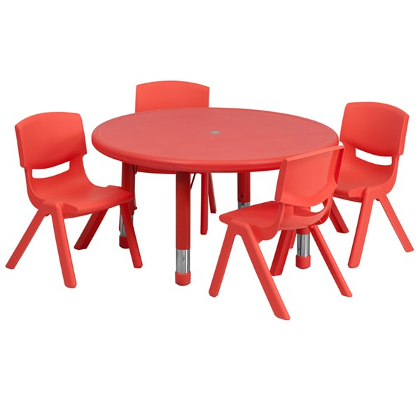 33 Inch Round Red Plastic 5pc Activity Table Set w/4 Stack Chairs FLF-YU-YCX-0073-2-ROUND-RED-S1