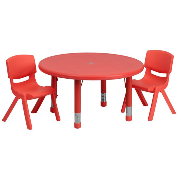 33 Inch Round Red Plastic 3pc Activity Table Set w/2 Stack Chairs FLF-YU-YCX-0073-2-ROUND-RED-S2