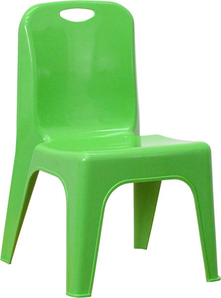 Green Plastic Stackable School Chair w/Carrying Handle FLF-YU-YCX-011-GREEN-GG