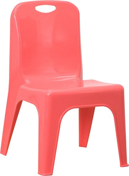 Red Plastic Stackable School Chair w/Carrying Handle FLF-YU-YCX-011-RED-GG