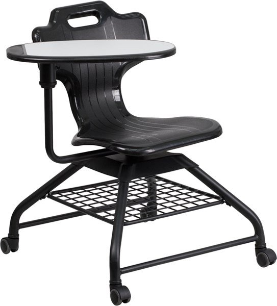 Black Mobile Classroom Chair with Swivel Tablet Arm FLF-YU-YCX-015-GG