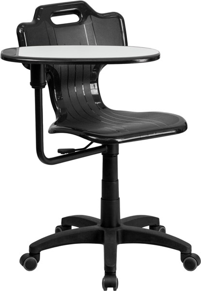 Black Mobile Task Chair with Swivel Tablet Arm FLF-YU-YCX-032-GG
