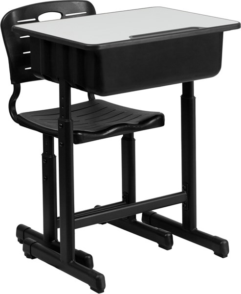 Adjustable Height Student Desk and Chair with Black Pedestal Frame FLF-YU-YCX-046-09010-DKS-CH-S