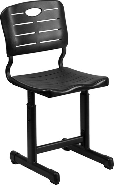 Adjustable Height Black Student Chair with Black Pedestal Frame FLF-YU-YCX-09010-GG