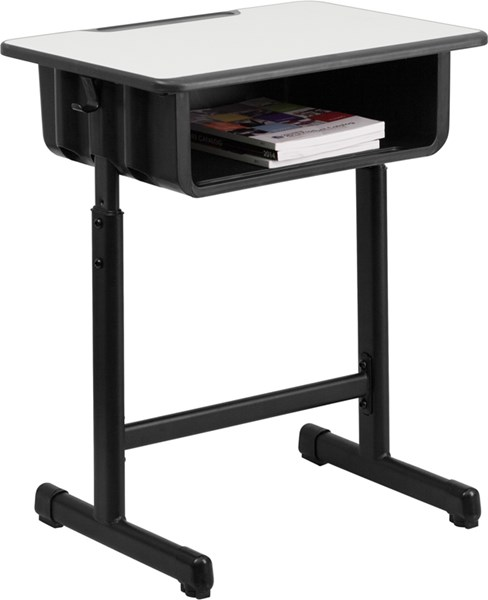 Student Desk with Grey Top and Adjustable Height Black Pedestal Frame FLF-YU-YCY-046-GG