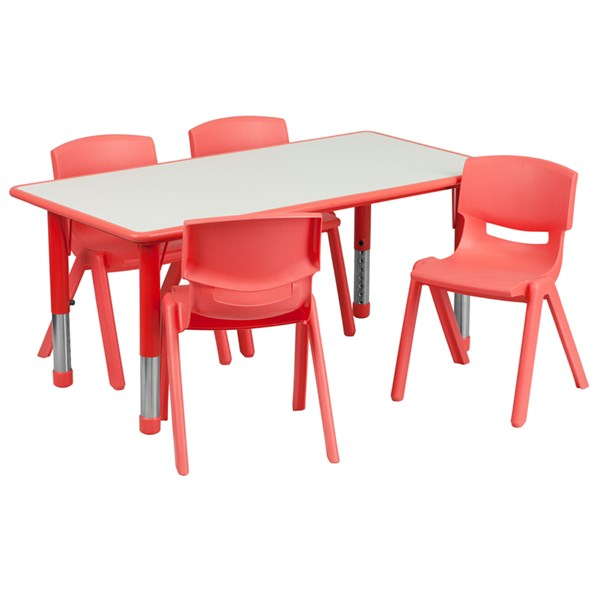 23.625 x 47.25 Red Plastic 5pc Activity Table Set w/4 School Chairs FLF-YU-YCY-060-0034-RECT-RED-S1