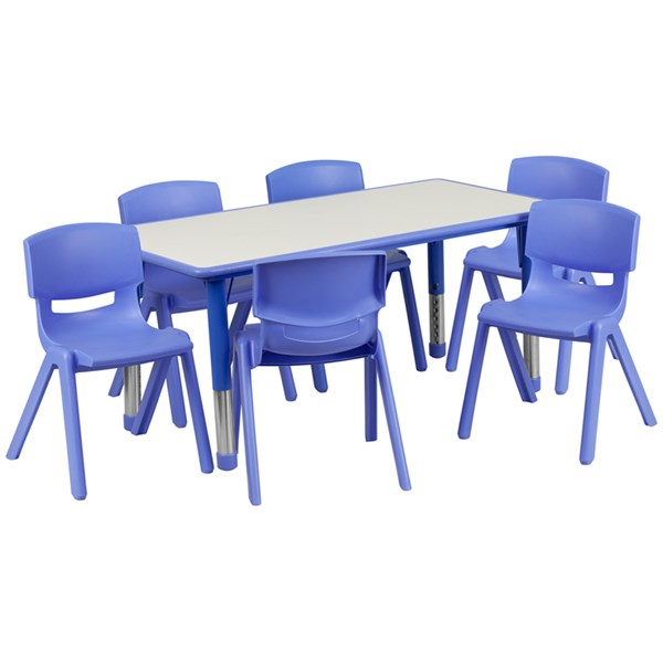 Flash Furniture Plastic 7pc Activity Table Sets with 6 Chairs FLF-YUYCY0600036RCTBLGGKTCHV1