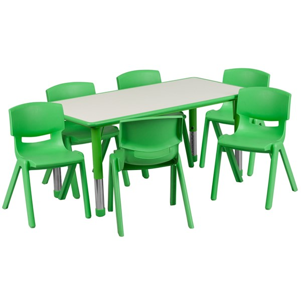 23.625 x 47.25 Green Plastic 7pc Activity Table Set w/6 School Chairs FLF-YU-YCY-060-0036-RECT-GRN-S2