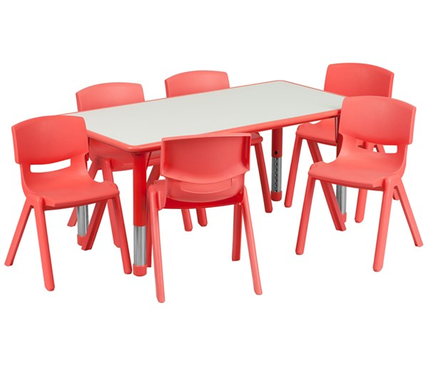 23.625 x 47.25 Red Plastic 7pc Activity Table Set w/6 School Chairs FLF-YU-YCY-060-0036-RECT-RED-S2