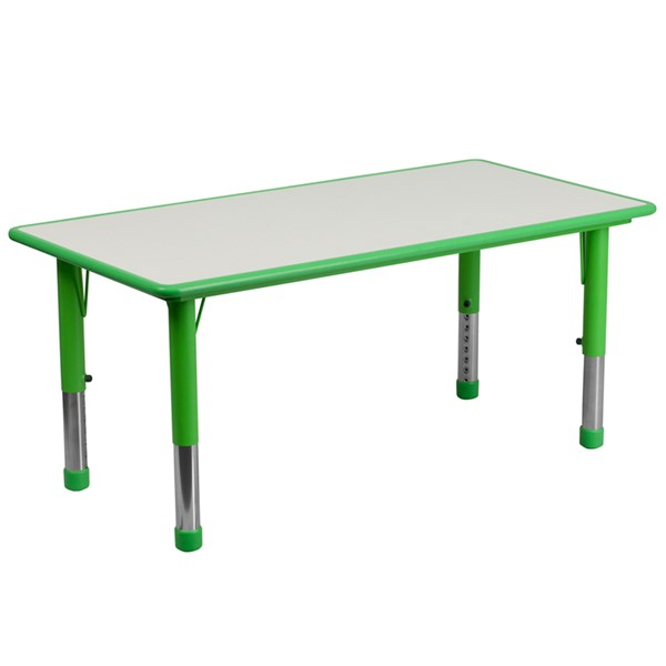 Flash Furniture Rectangular Green Plastic Activity Table with Grey Top FLF-YUYCY060-RCTTBLGRGG