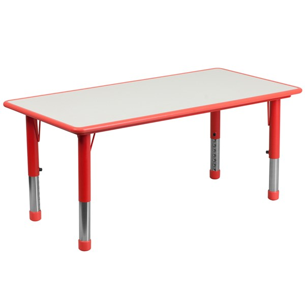 23.625 x 47.25 Rectangular Red Plastic Activity Table w/Grey Top FLF-YU-YCY-060-RECT-TBL-RED-GG