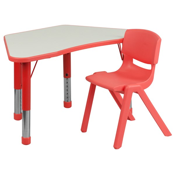 Red Trapezoid Plastic Activity Table Configuration w/1 School Chair FLF-YU-YCY-091-0031-TRAP-RED-S1