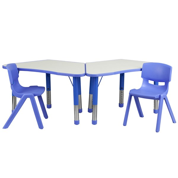 Blue Trapezoid Plastic Activity Table Configuration w/2 School Chairs FLF-YU-YCY-091-0032-TRAP-BLU-S2