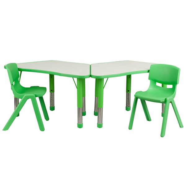 Green Trapezoid Plastic Activity Table Configuration w/2 School Chairs FLF-YU-YCY-091-0032-TRAP-GRN-S2