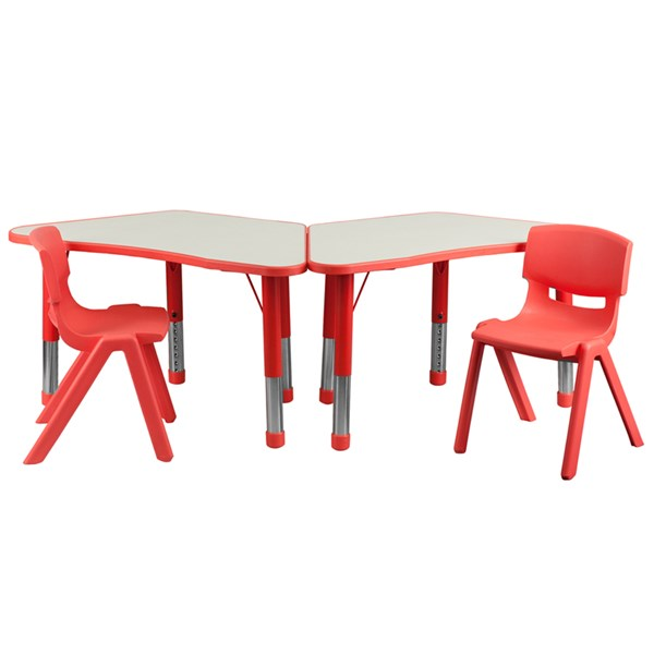 Red Trapezoid Plastic Activity Table Configuration w/2 School Chairs FLF-YU-YCY-091-0032-TRAP-RED-S2