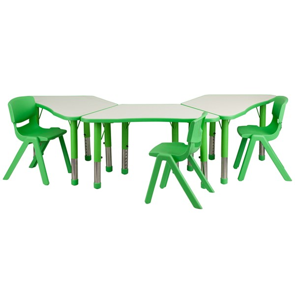 Green Trapezoid Plastic Activity Table Configuration w/3 School Chairs FLF-YU-YCY-091-0033-TRAP-GRN-S3