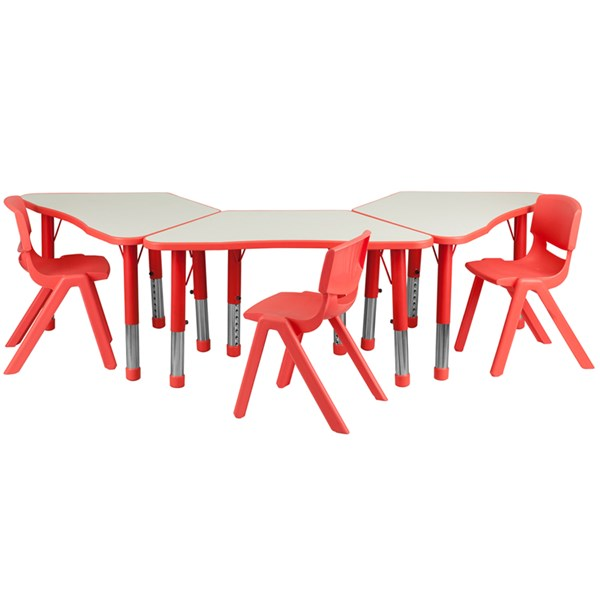 Red Trapezoid Plastic Activity Table Configuration w/3 School Chairs FLF-YU-YCY-091-0033-TRAP-RED-S3