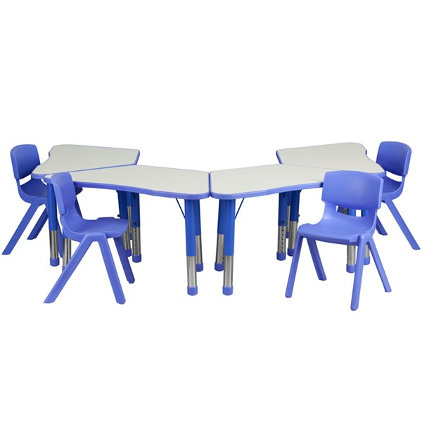 Blue Trapezoid Plastic Activity Table Configuration w/4 School Chairs FLF-YU-YCY-091-0034-TRAP-BLU-S4