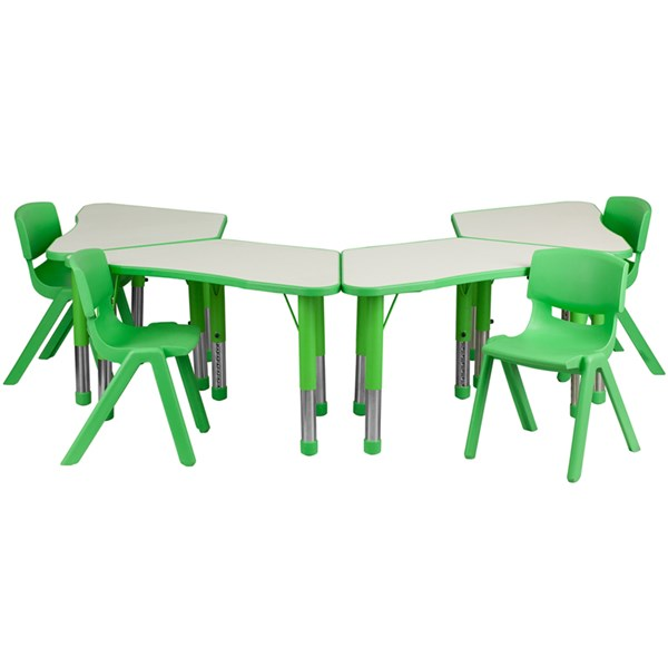 Green Trapezoid Plastic Activity Table Configuration w/4 School Chairs FLF-YU-YCY-091-0034-TRAP-GRN-S4