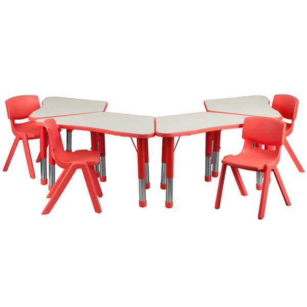 Red Trapezoid Plastic Activity Table Configuration w/4 School Chairs FLF-YU-YCY-091-0034-TRAP-RED-S4