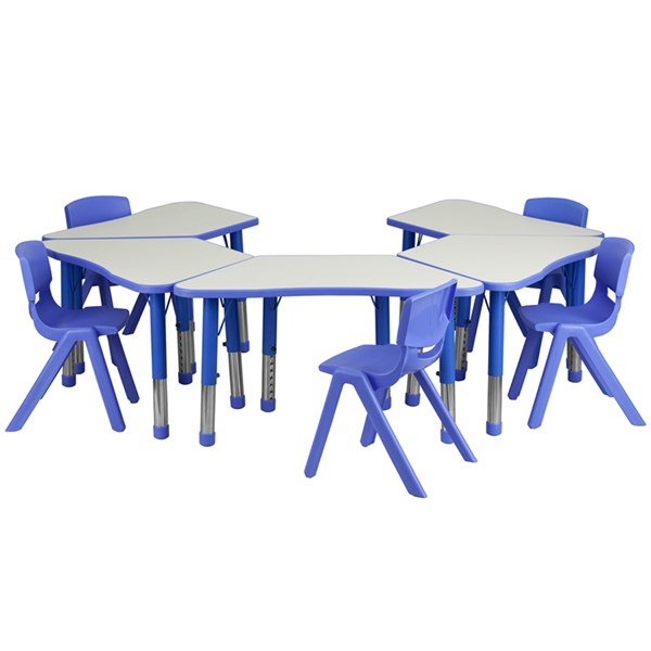 Blue Trapezoid Plastic Activity Table Configuration w/5 School Chairs FLF-YU-YCY-091-0035-TRAP-BLU-S5